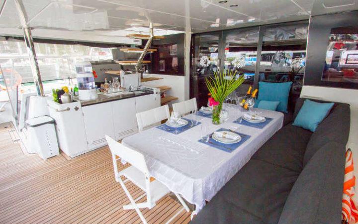 JANS FELION power catamaran yacht charter aft-deck