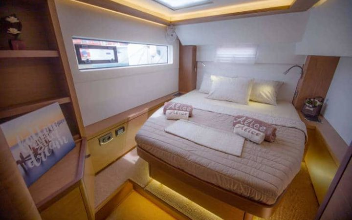 ALICE catamaran yacht charter cabin-1