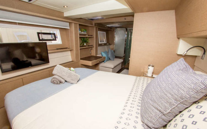 JANS FELION power catamaran yacht charter cabin-1