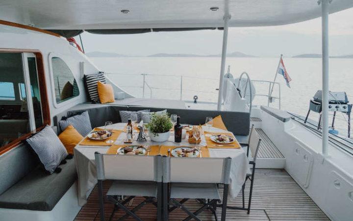 MALA catamaran yacht charter cockpit