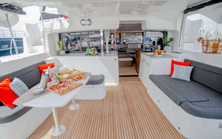 ALICE catamaran yacht charter cockpit