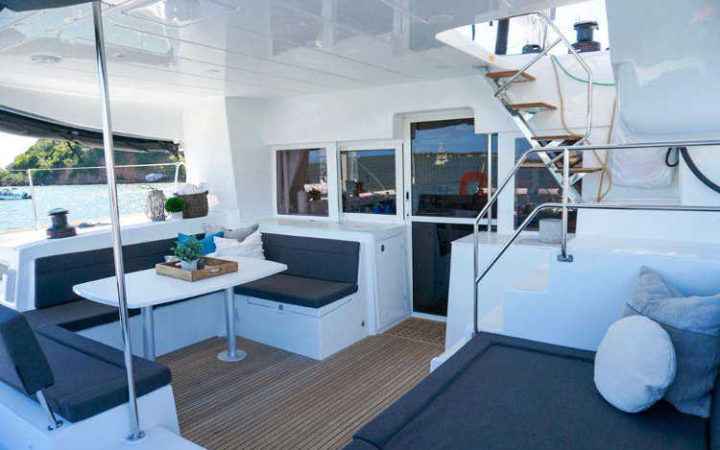 Luna catamaran yacht charter cockpit