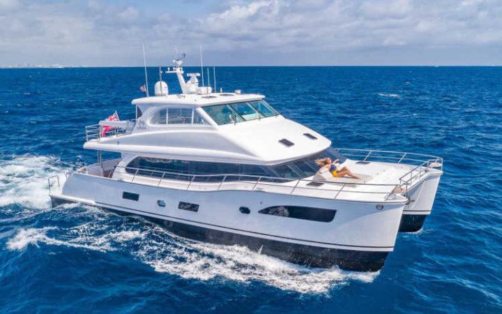 MUCHO GUSTO power catamaran yacht charter exterior cruising Caribbean Virgin Islands - Top yacht charter destination