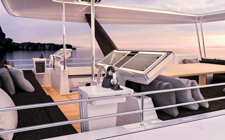 JANS FELION power catamaran yacht charter fly-bridge