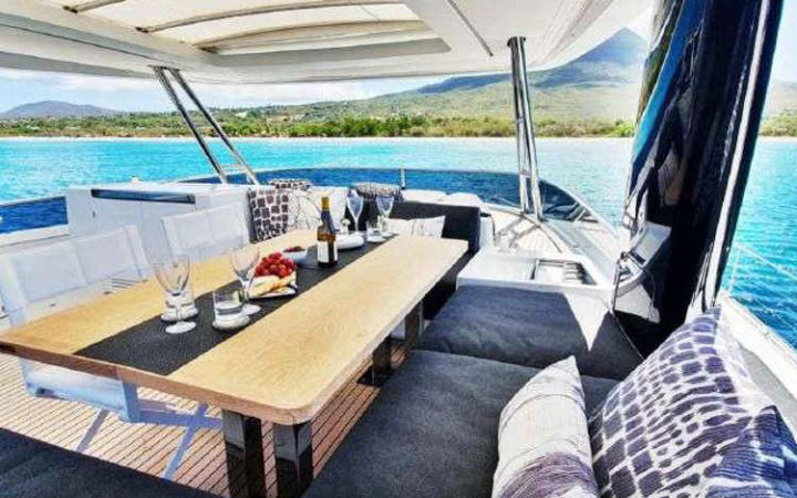 MARE BLU power catamaran yacht charter fly bridge