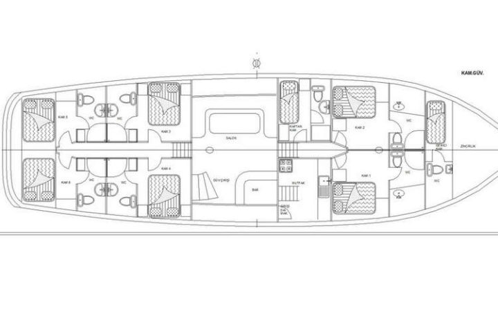 sirena gulet yacht charter lay-out
