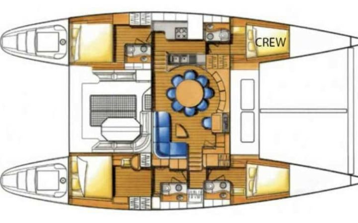 MALA catamaran yacht charter lay-out