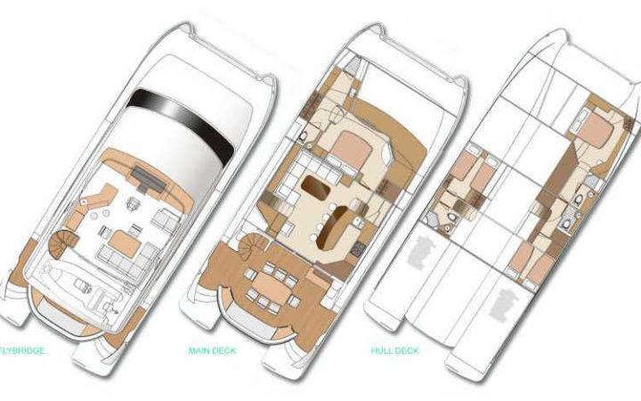 SEA BOSS power catamaran yacht charter lay-out