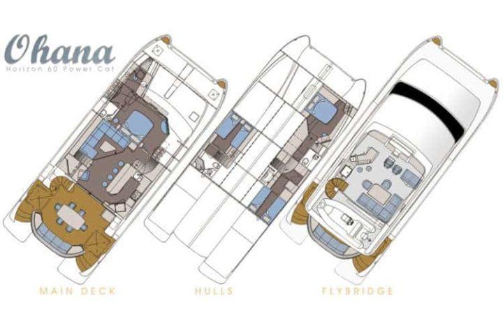 OHANA catamaran yacht charter lay-out