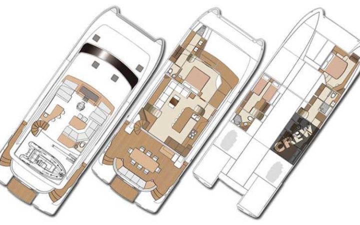 MUCHO GUSTO power catamaran yacht charter layout