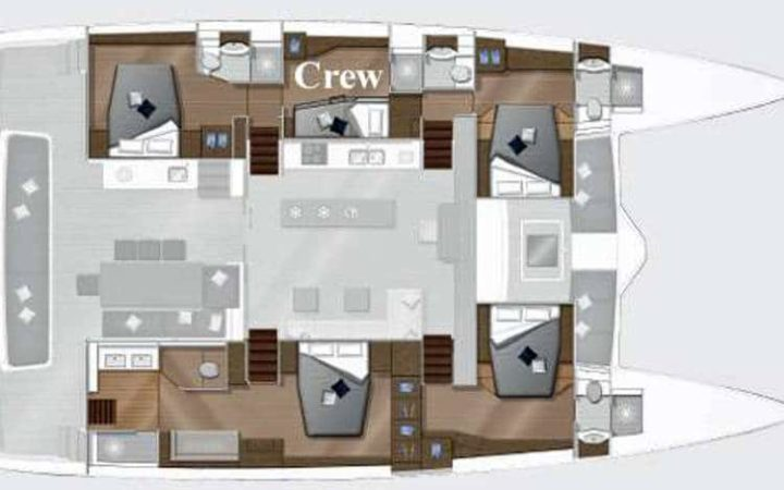 MARE BLU power catamaran yacht charter fly layout