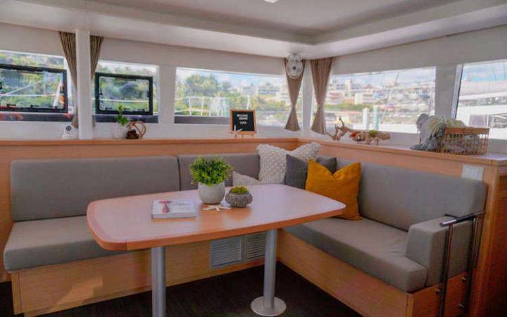 Luna catamaran yacht charter saloon