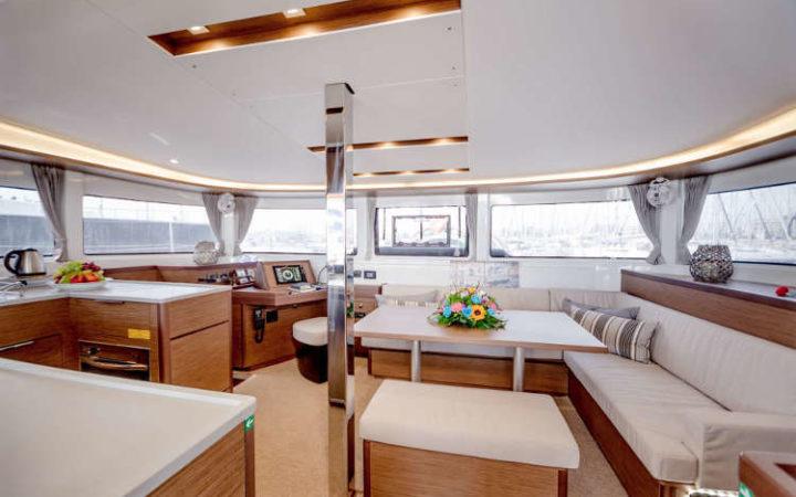 ALICE catamaran yacht charter saloon
