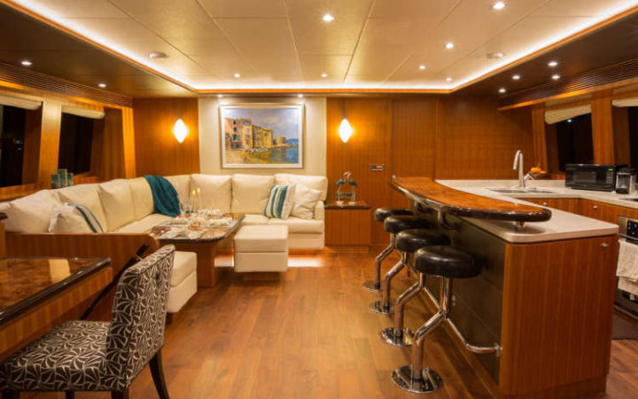 SEA BOSS power catamaran yacht charter saloon