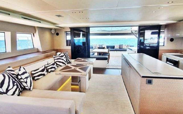 MARE BLU power catamaran yacht charter fly saloon