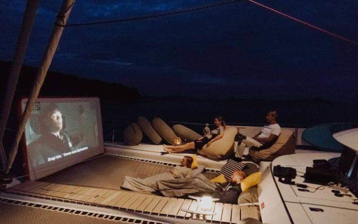 MALA catamaran yacht charter cinema